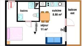 Appartement - LANSLEBOURG - STUDIO 3 PERSONNES - 21.58 M² + GARAGE