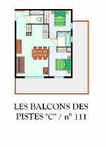 Appartement - LES DEUX ALPES - LES BALCONS DES PISTES C 111